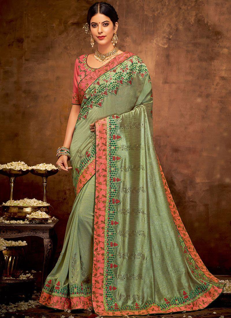 Sea Green Embroidered Wedding Classic Designer Saree