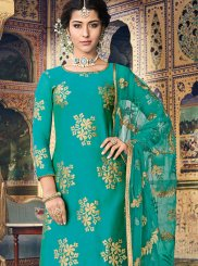 Sea Green Fancy Fabric Designer Palazzo Suit