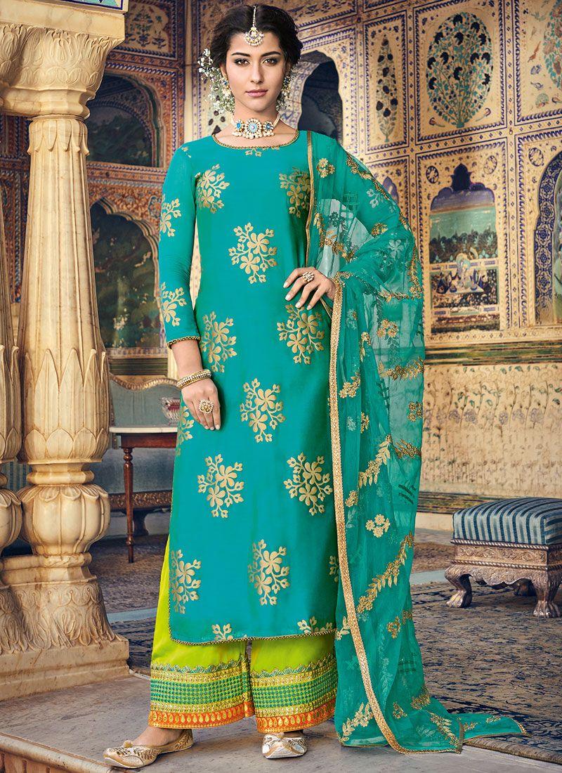 Sea Green Fancy Fabric Designer Palazzo Suit