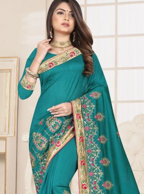 Sea Green Fancy Fabric Embroidered Classic Designer Saree