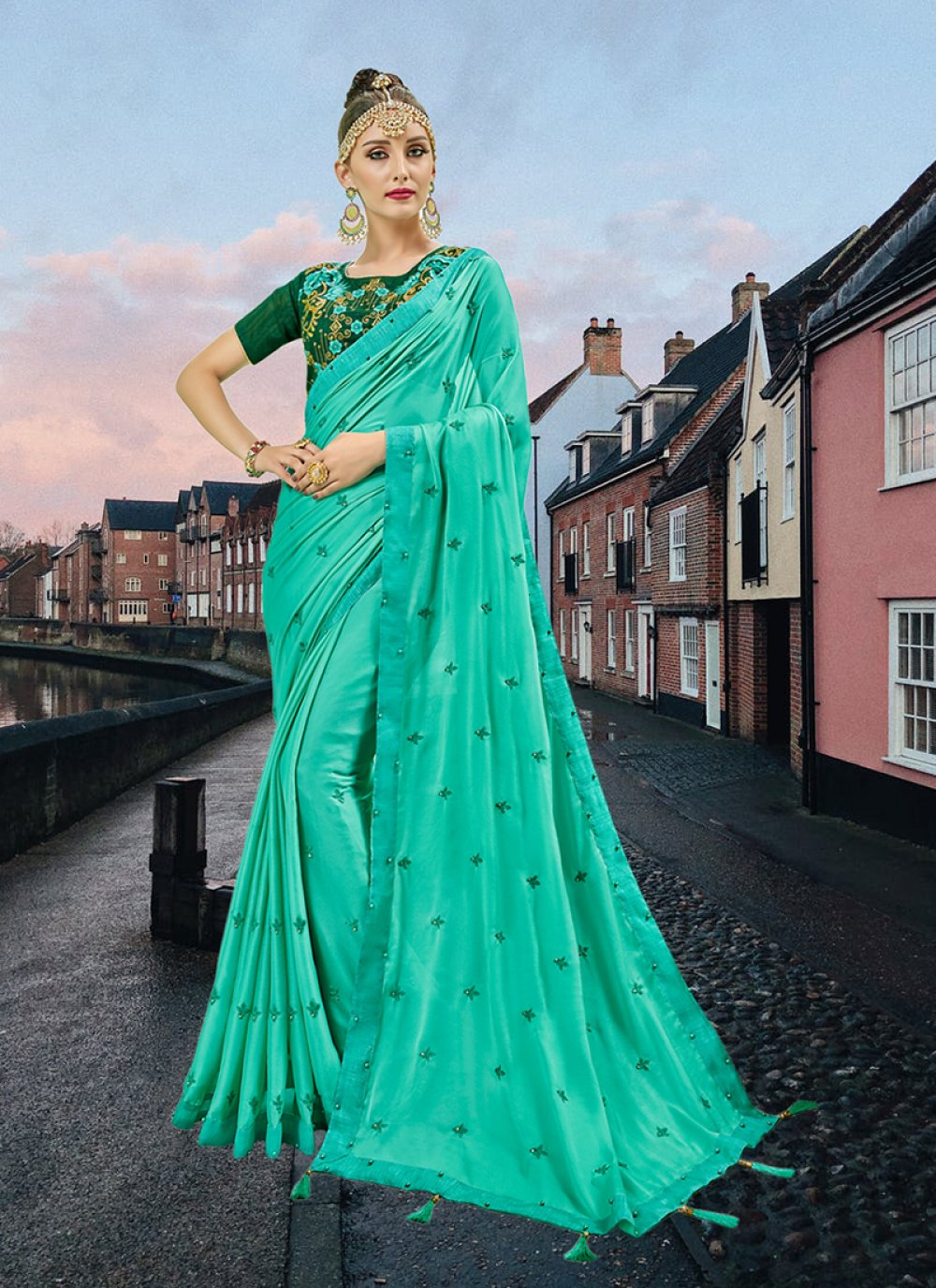 Sea Green Faux Georgette Abstract Print Printed Saree
