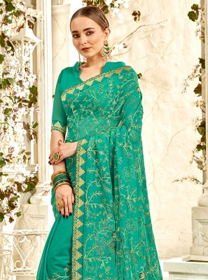 Sea Green Faux Georgette Festival Saree