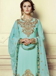 Sea Green Faux Georgette Pant Style Suit