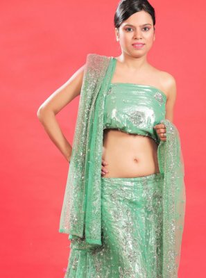 Sea Green Faux Georgette Wedding Lehenga Choli