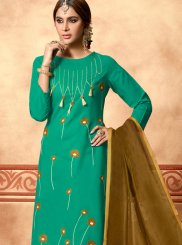 Sea Green Festival Churidar Designer Suit