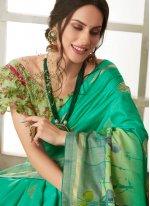 Sea Green Festival Printed Saree
