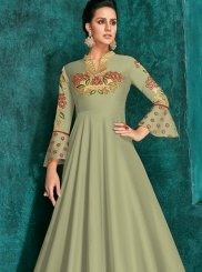 Sea Green Festival Silk Trendy Gown