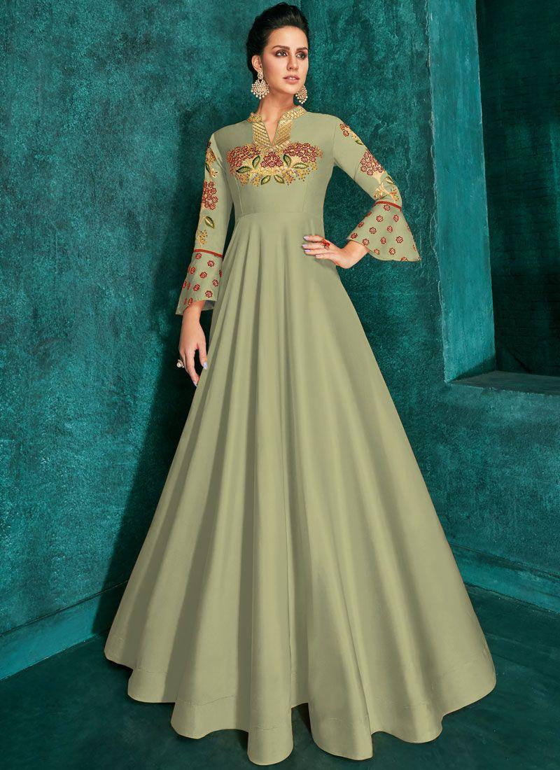 Sea Green Festival Silk Trendy Gown