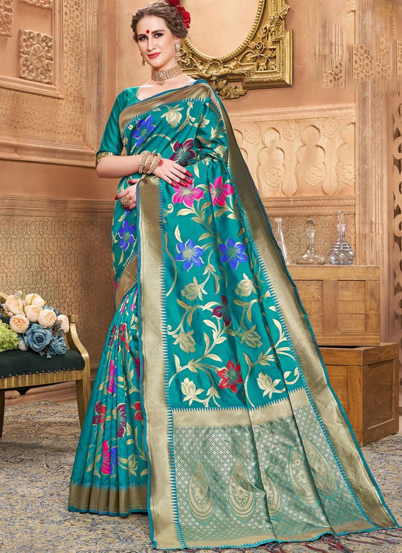 Sea Green Festival Traditional Saree