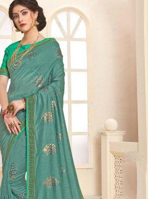 Sea Green Foil print Art Silk Trendy Saree
