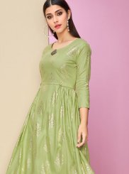 Sea Green Foil print Casual Kurti