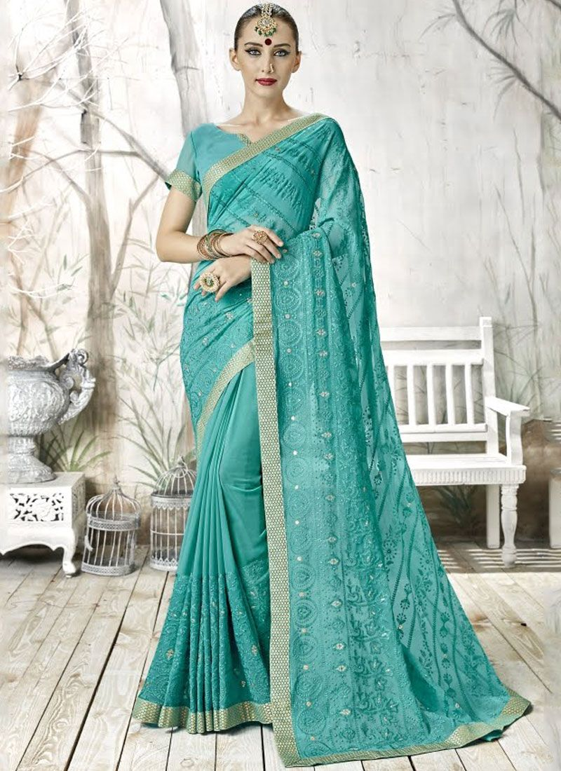 Sea Green Georgette Designer Saree