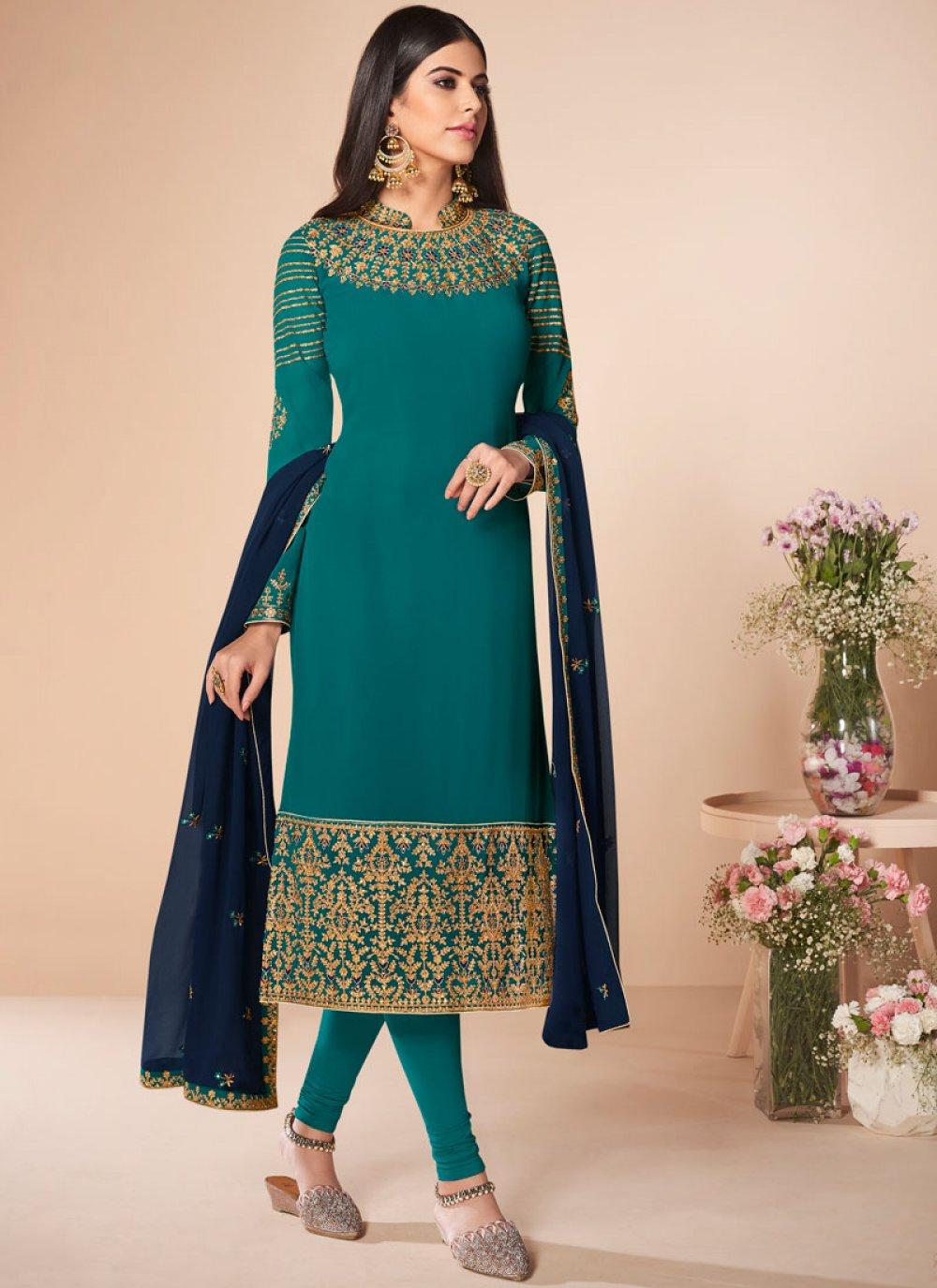 Sea Green Georgette Sangeet Salwar Suit