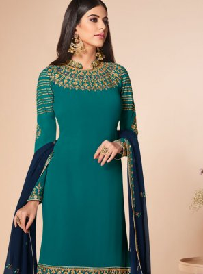 Sea Green Georgette Sangeet Salwar Suit