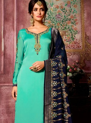 Sea Green Georgette Satin Churidar Suit