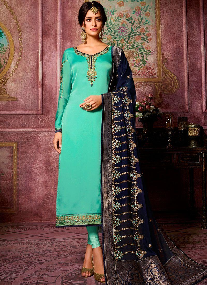 Sea Green Georgette Satin Churidar Suit