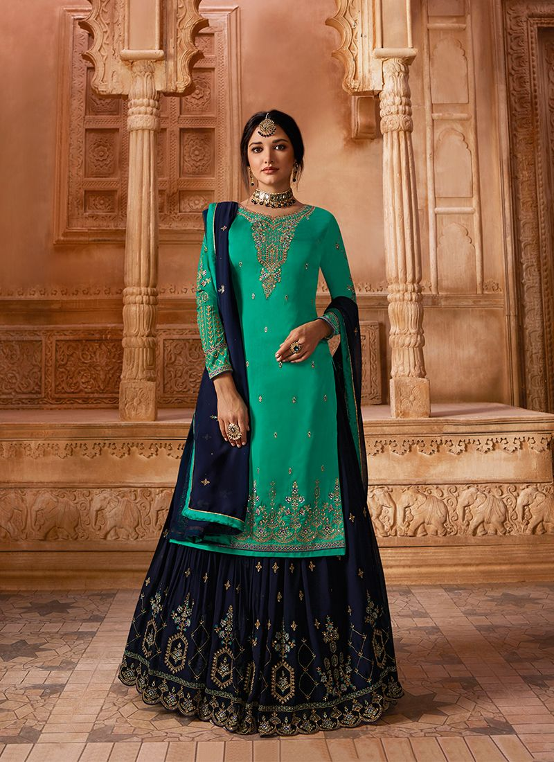 Sea Green Georgette Satin Designer Pakistani Suit