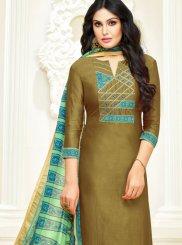 Sea Green Lace Cotton Trendy Churidar Salwar Suit
