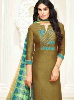 Sea Green Lace Cotton Trendy Churidar Salwar Suit