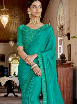 Sea Green Lace Designer Saree