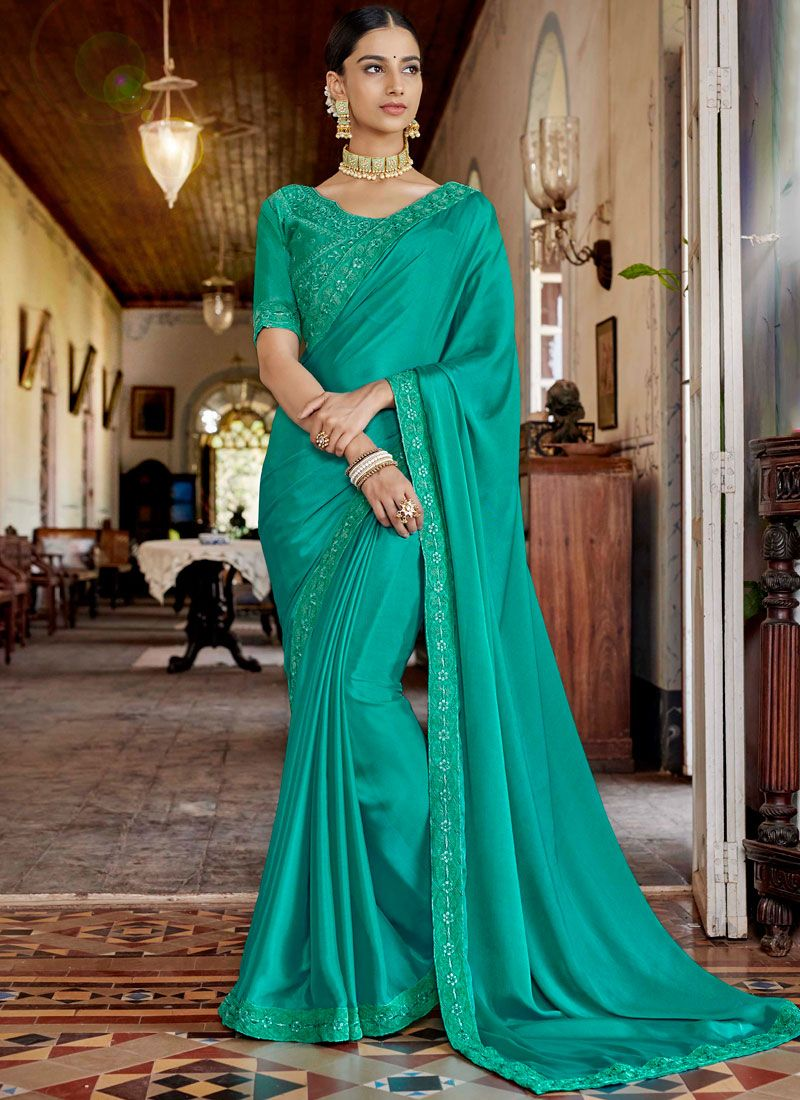 Sea Green Lace Designer Saree