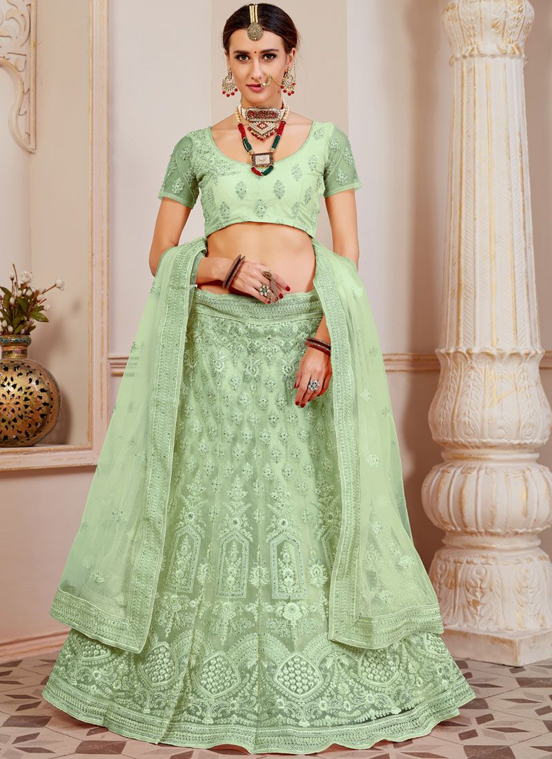 Sea Green Lace Lehenga Choli