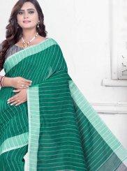 Sea Green Linen Casual Printed Saree
