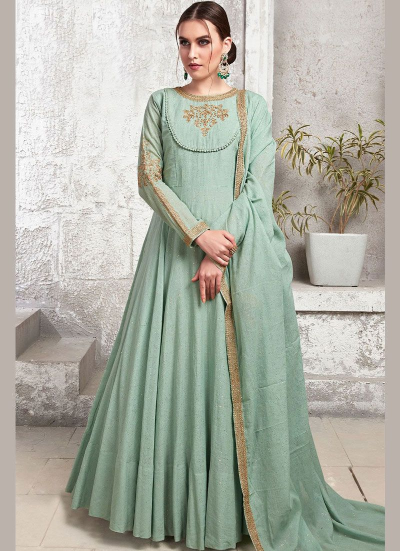 Sea Green Maslin Cotton Readymade Trendy Gown