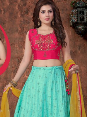 Sea Green Mehndi Art Silk Readymade Lehenga Choli.