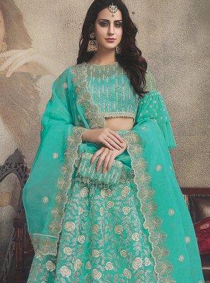 Sea Green Mehndi Designer Lehenga Choli