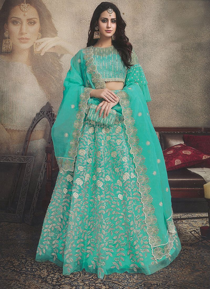 Sea Green Mehndi Designer Lehenga Choli
