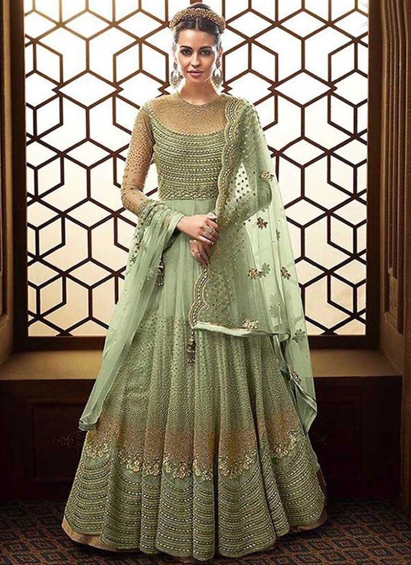Sea Green Net Embroidered Floor Length Anarkali Suit