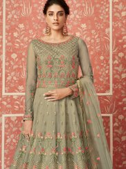 Sea Green Net Floor Length Anarkali Suit