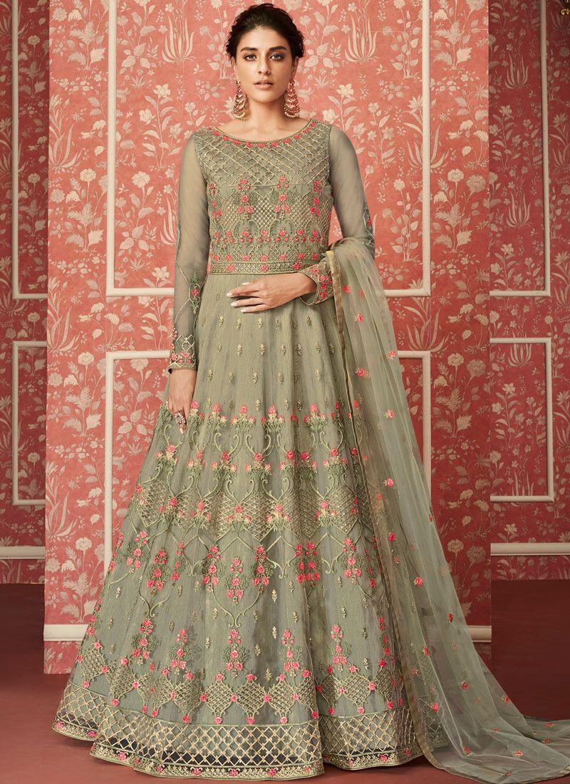 Sea Green Net Floor Length Anarkali Suit
