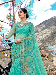 Sea Green Net Patch Border Classic Saree