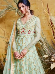 Sea Green Net Resham Floor Length Anarkali Suit