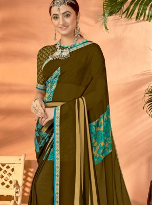 Sea Green Party Georgette Casual Saree