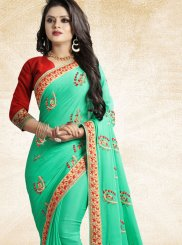 Sea Green Patch Border Art Silk Traditional Saree