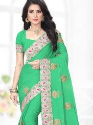 Sea Green Patch Border Classic Saree