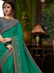 Sea Green Patch Border Designer Traditional Saree