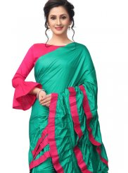 Sea Green Plain Classic Designer Saree