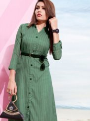Sea Green Plain Faux Georgette Casual Kurti