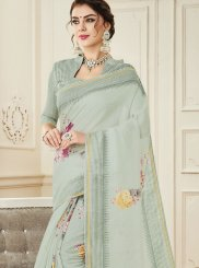 Sea Green Print Casual Saree