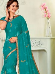 Sea Green Print Ceremonial Classic Designer Saree