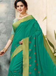 Sea Green Print Chanderi Cotton Classic Saree