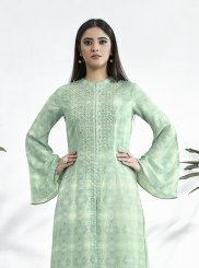 Sea Green Print Festival Party Wear Kurti