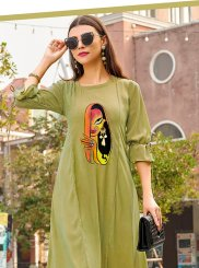 Sea Green Print Party Wear Kurti