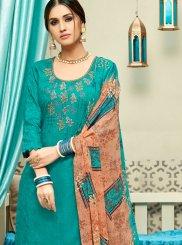Sea Green Print Punjabi Suit