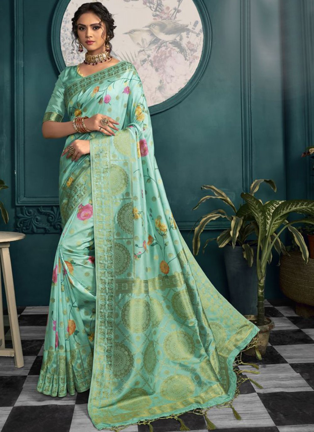 Sea Green Printed Printed Saree