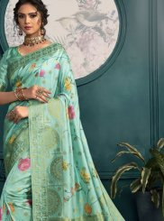 Sea Green Printed Printed Saree